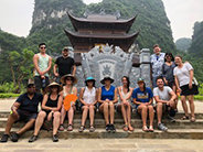 group photo at a temple in vietnam