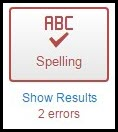 Spellcheck ABC spelling icon with results