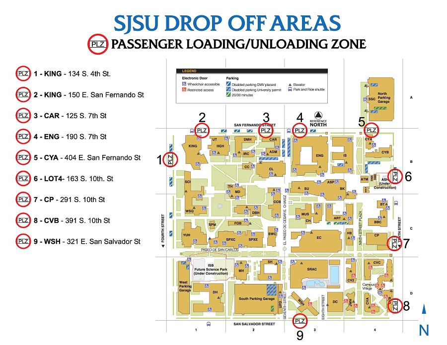 passenger drop off sites on sjsu's campus