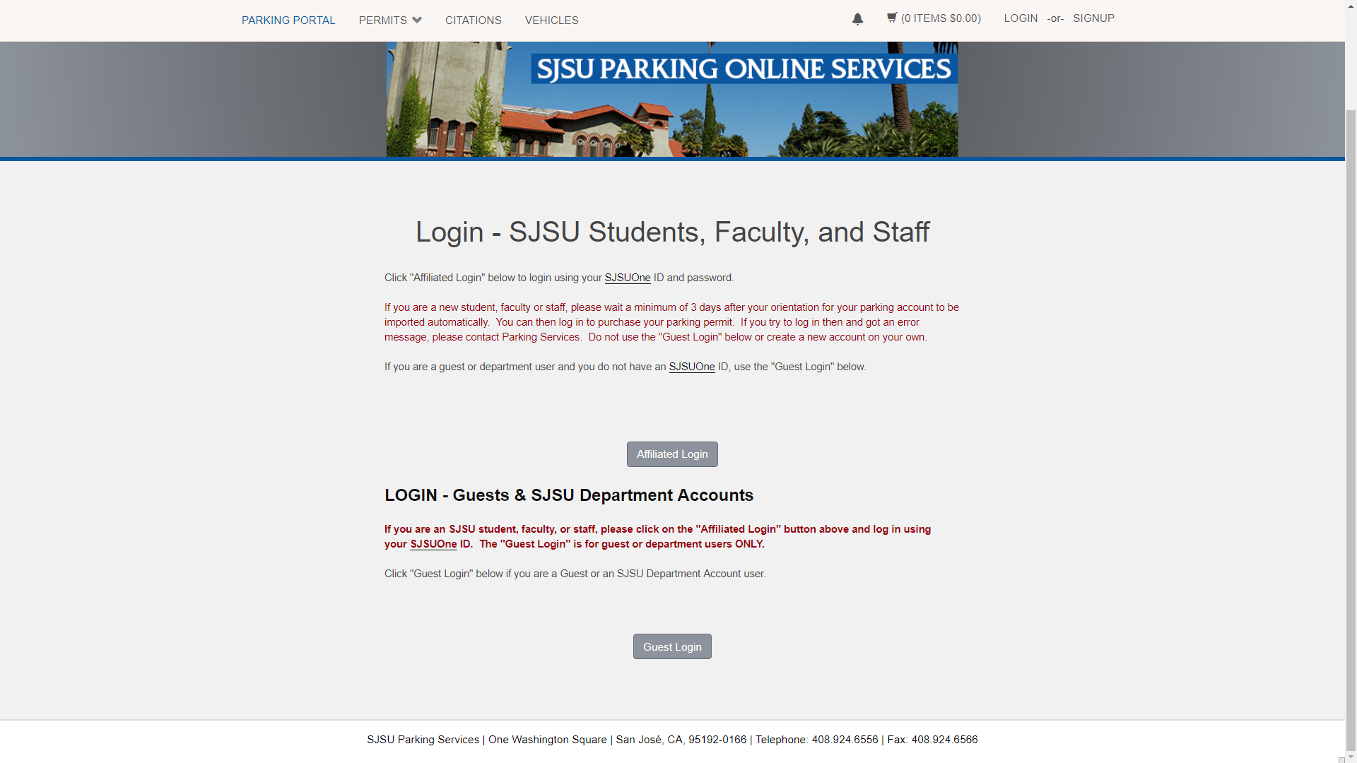 log in page to parking account