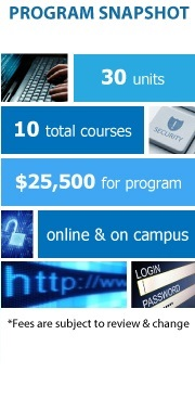 Program Snapshot: 30 units to degree, 10 total courses, $25,500 for degree, online & on campus, Fall & Spring Admission. (Fees are subject to review & change)