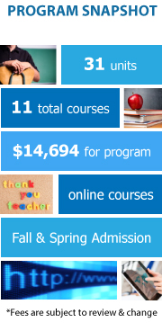 Program Snapshot: 31 units, 11 total courses, $14,694 for program, online program, Fall & Spring Admission. (Fees are subject to review & change)
