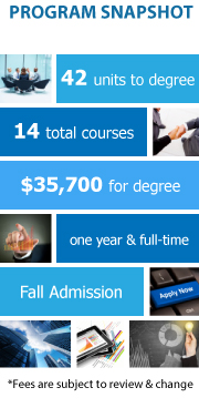 Program Snapshot: 42 units to degree, 14 total courses, $35,700 for degree, one year and full-time, Fall Admission. (Fees are subject to review & change)
