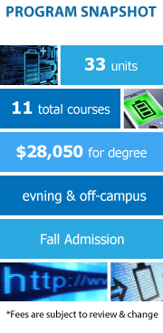 Program Snapshot: 33 units to degree, 11 total courses, $24,750 for degree, evening & off-campus, Fall and Spring Admission. (Fees are subject to review & change)