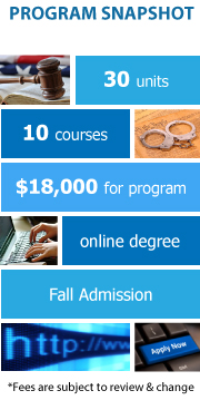 Program Snapshot: 30 units to degree, 10 total courses, $18,000 for degree, online program, Fall Admission. (Fees are subject to review & change)