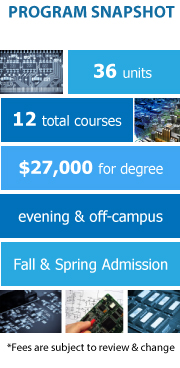 Program Snapshot: 36 units to degree, 12 total courses, $27,000 for degree, evening & off-campus, Fall and Spring Admission. (Fees are subject to review & change)