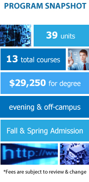 Program Snapshot: 39 units to degree, 13 total courses, $29,250 for degree, evening & off-campus, Fall and Spring Admission. (Fees are subject to review & change)