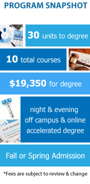 Program Snapshot: 30 units to degree, 10 total courses, $19,350 for degree, night and evening, off campus and Online, accelerated degree, Fall & Spring Admission. (Fees are subject to review & change)