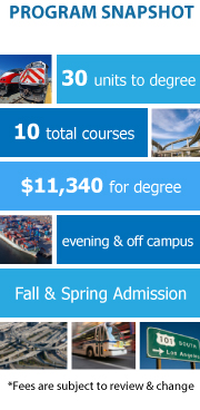Program Snapshot: 30 units to degree, 10 total courses, $11,340 for degree, evening and off-campus, Fall and Spring Admission. (Fees are subject to review & change)