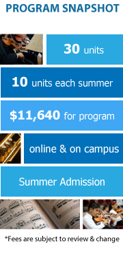 Program Snapshot: 30 units, 10 units each summer, $11,640 for degree, online and on campus program, Summer Admission. (Fees are subject to review & change)
