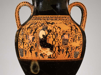 Close to Exekias, Two-handled jar (amphora), Greek, Archaic Period, about 540–530 BC  Ceramic, Black Figure. Museum of Fine Arts Boston