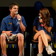 Two students with microphone in a discussion