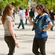 two female students talking with each other