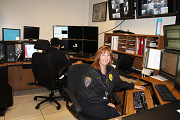 Dispatchers monitoring dispatch center