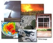 pictures of different disaster types: tornado, fire, flood, hurricane, earthquake