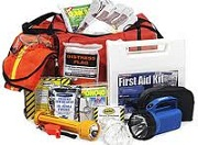 emergency items, first aid kit, flash light, whistle, etc...