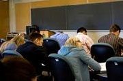 group of people taking exam