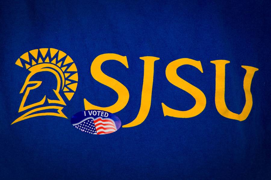 "Close up of SJSU t-shirt with an ""I Voted"" sticker."