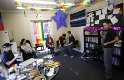 People hanging out in the LGBT Resource Center