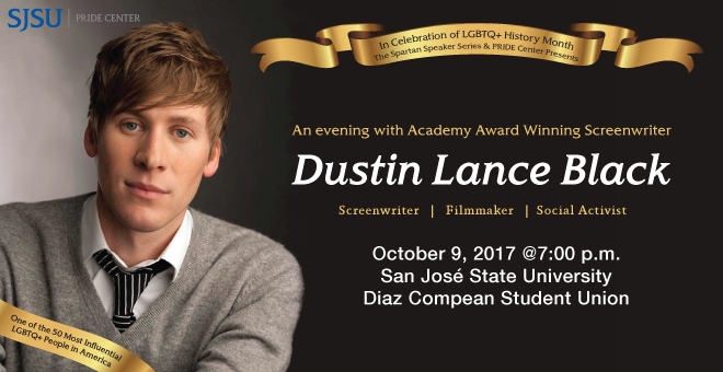 Portriat of Dustin Lance Black, Banner: In Celebatio of LGBTQ+ History Month