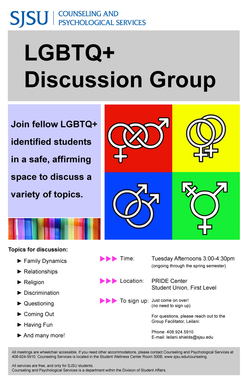 LGBTQ+ Discussion Group Flyer