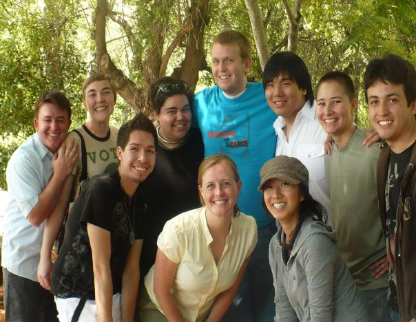 Peers in PRIDE group photo outside at end of year retreat