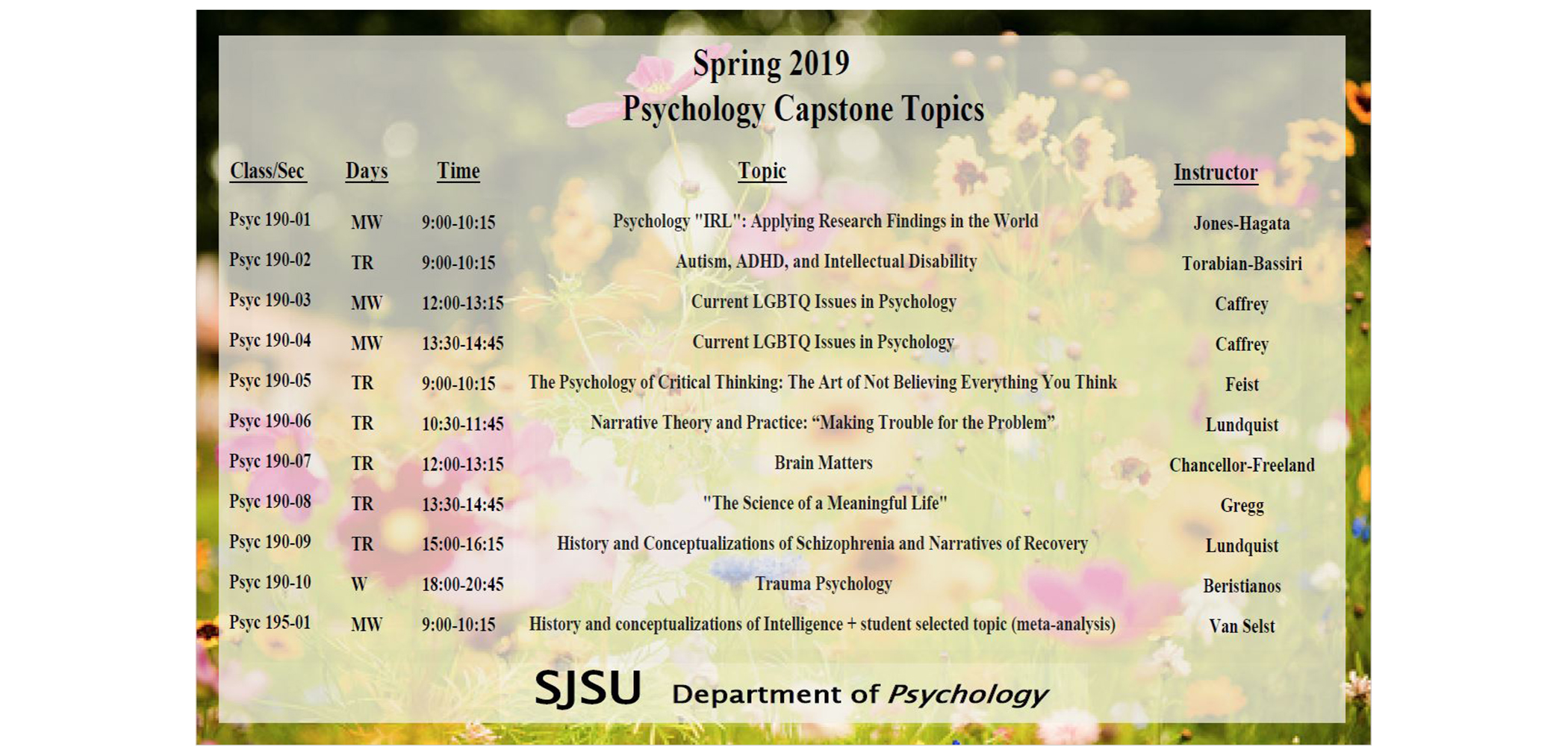 Spring 2019 Psychology Capstone Topics