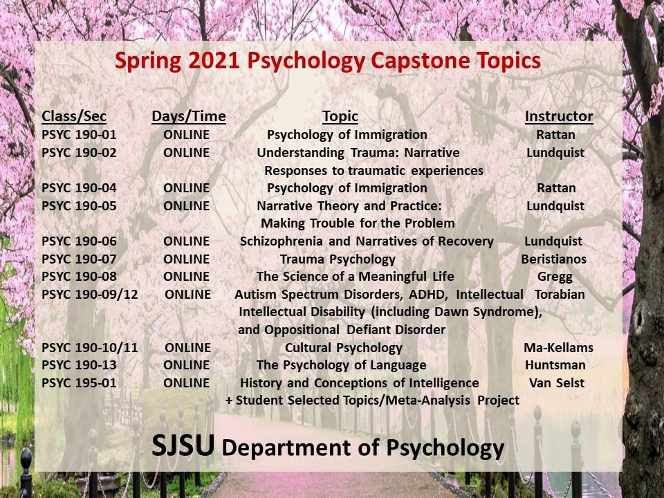 Sjsu Calendar Spring 2021 SJSU Psychology | San Jose State University