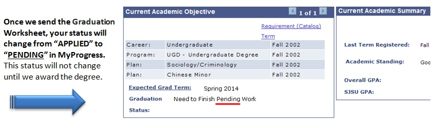 screen shot showing pending graduation status