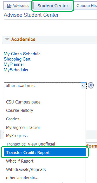Screen Shot of Student Center Tab, Transfer Credit Report is under Academic
