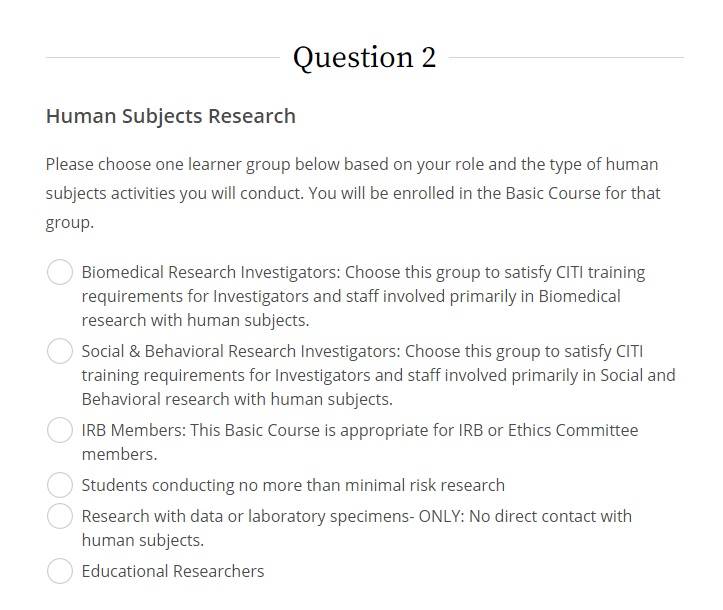 Screenshot of human subjects research course options in CITI