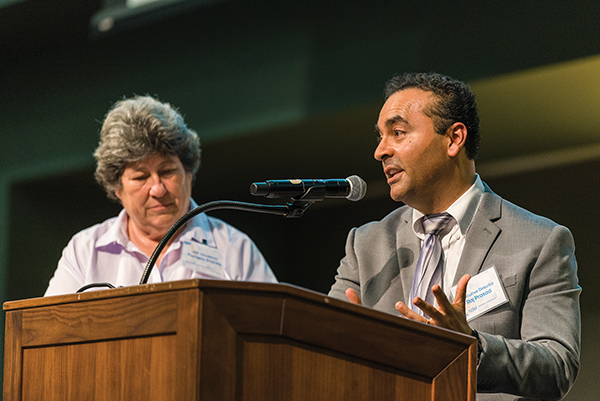 Pam Stacks and Raj Prasad introduce Student Research Competition Finalists