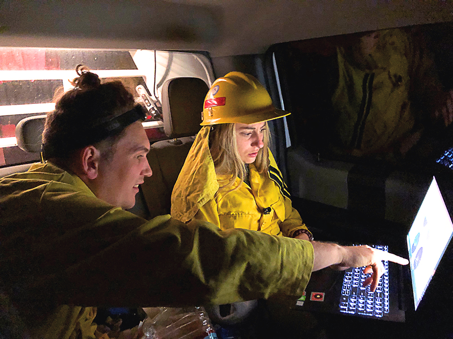 students in fire weather research truck