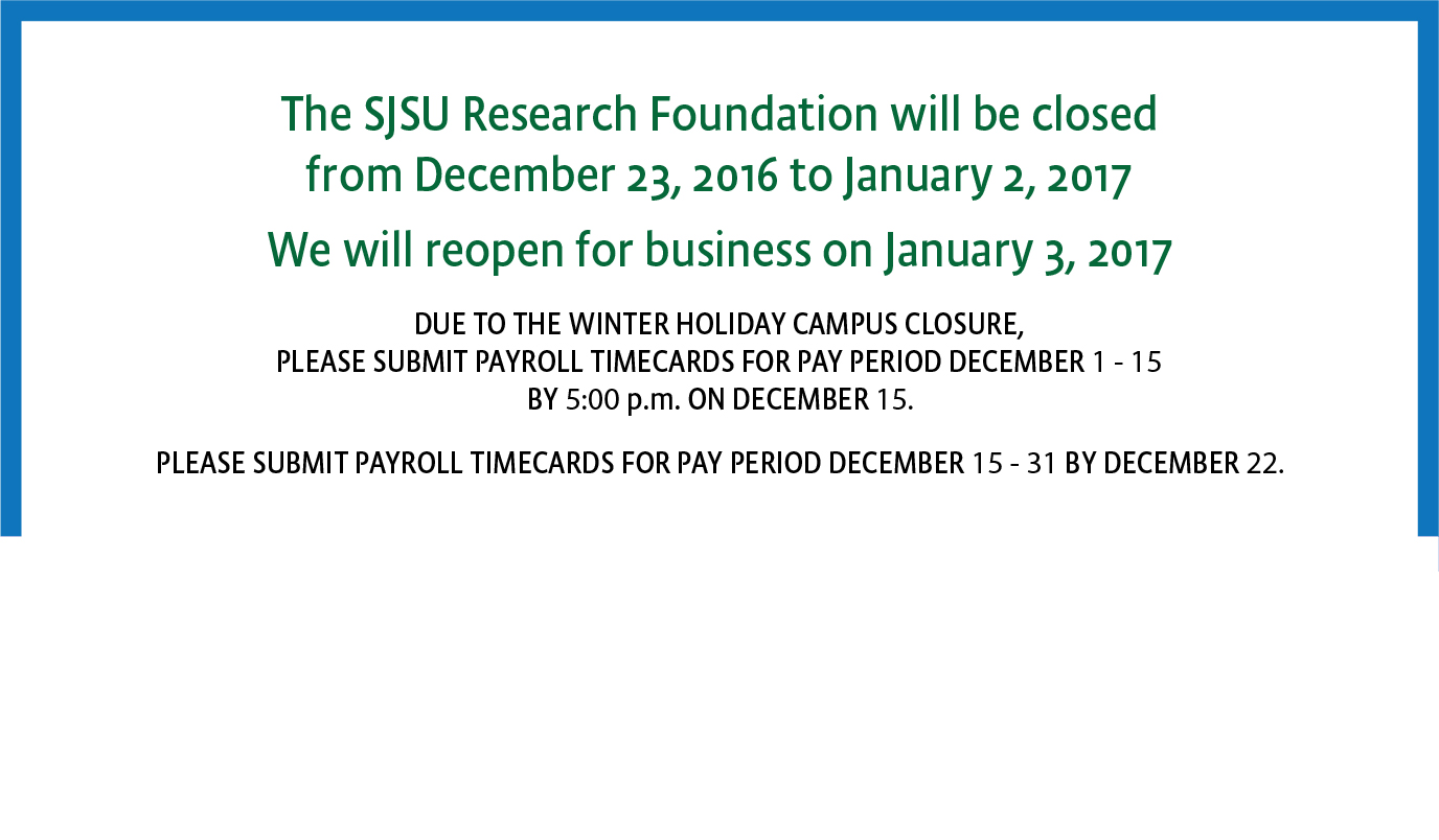 Research Foundation Holiday Closure