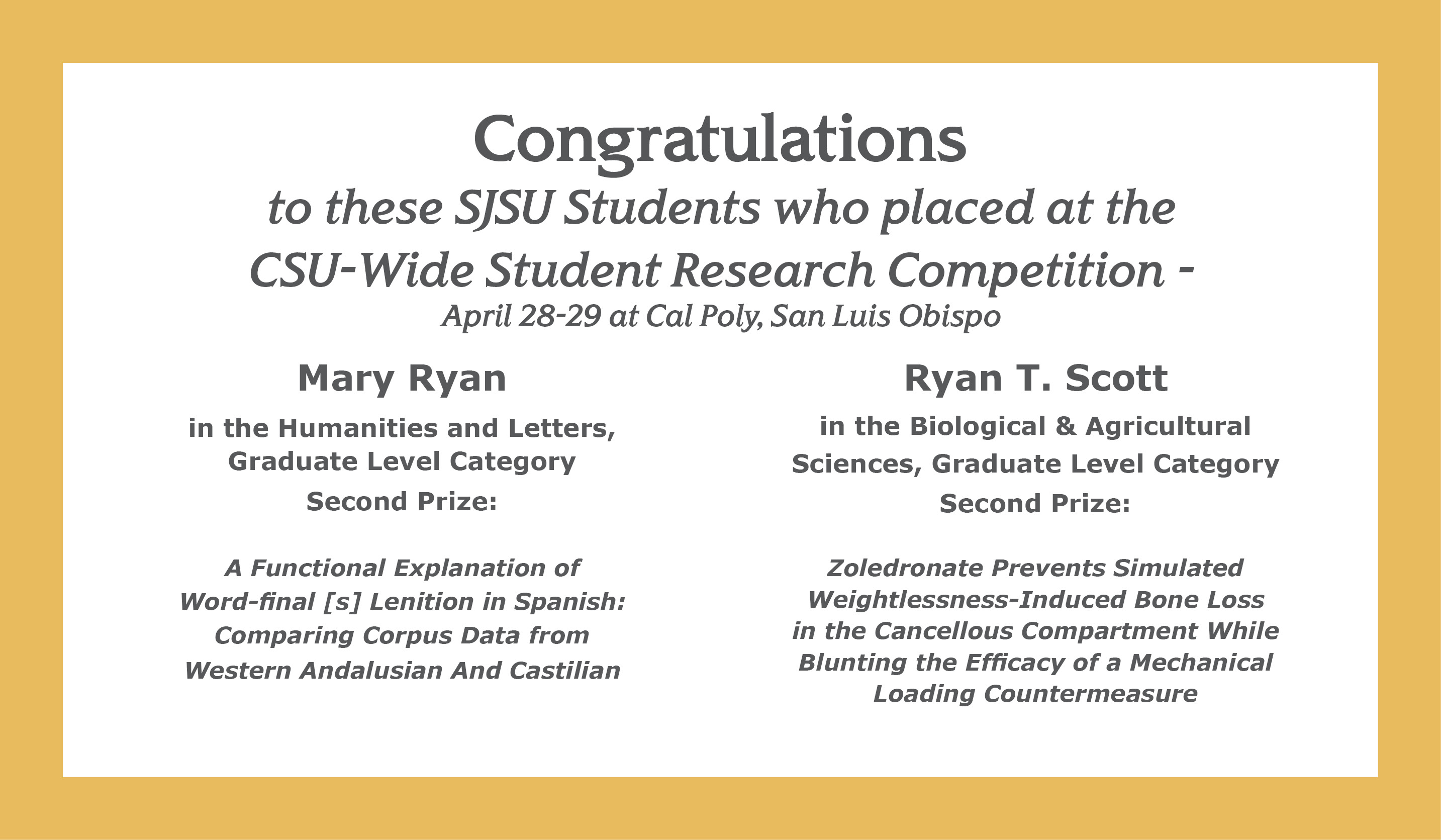 Mary Ryan, Ryan T. Scott Place in CSU Student Research Competition
