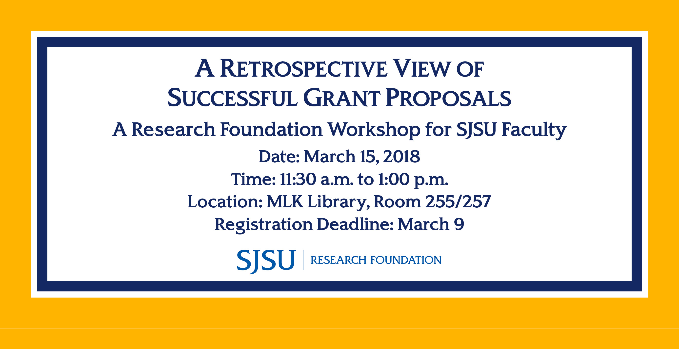Research Foundation Workshop March 15