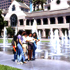 A Group of Students at Caesar Chavez Park Water Fountains