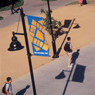 SJSU Logo Tile Artwork on Lampposts along El Paseo de Caesar Chavez