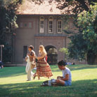 Few Students on Lawn in Front of Dwight Bentel Hall