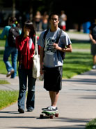 Students Walking Outside Engineering Building