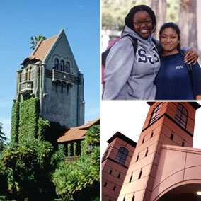 photo: 3-up of Tower Hall, two female students, and campus gates at El Paseo de San Antonio/4th St campus entrance