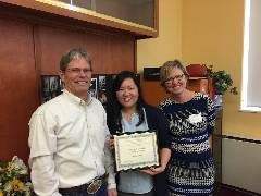 Chandler Award Spring 2016 Recipient Michelle Yeung with Son of Paul MacKay Chandler and Graduate Advisor, Dr. Amy Leisenring.