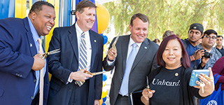 Members of SJSU leadership team gather at a community event