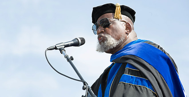 Harry Edwards at Commencement