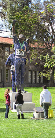 Statue of Tommie Smith and John Carlos