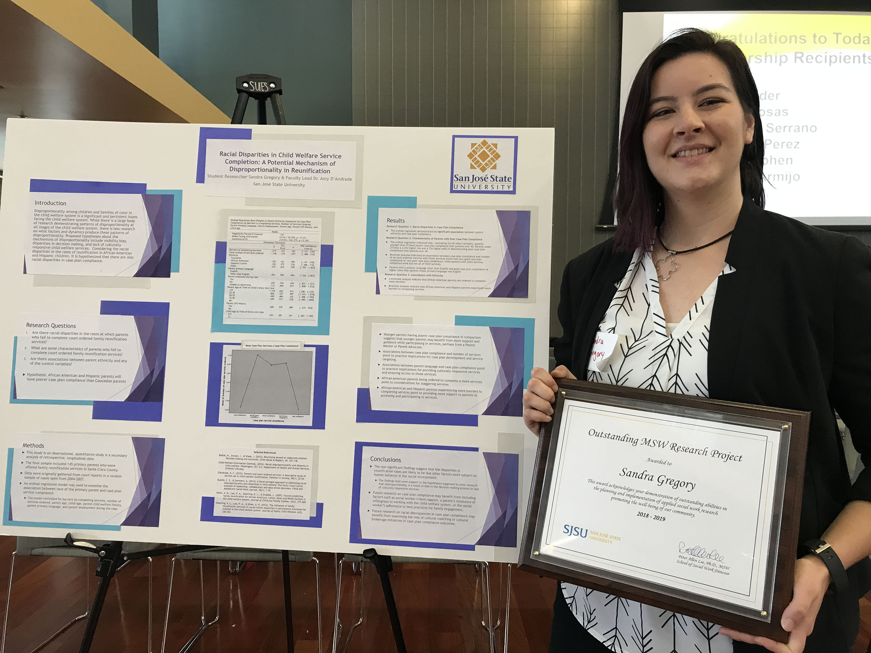 MSW student with research award