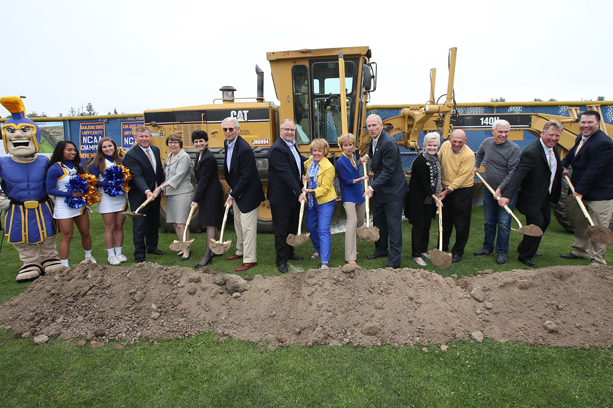 photo of groundbreaking ceremony, featuring key donors and SJSU coaches and administrators (photo by Austin Ginn)
