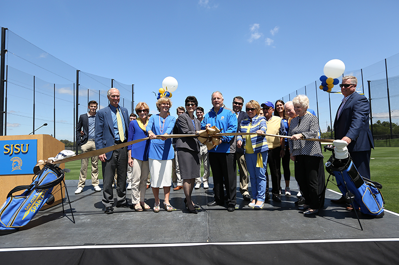 Photo of ribbon cutting ceremony with key donors, SJSU executives, and the Spartan Golf teams.