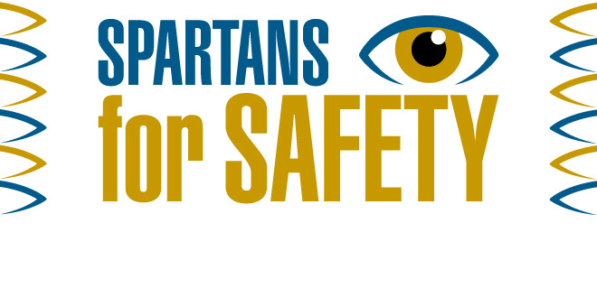 Spartans for Safety in bold blue and gold letters