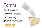 Forms: Get forms to make changes for existing special session